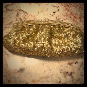 Gold sequin evening clutch